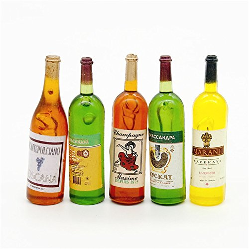 5 Wine Juice Bottles 1/12 Kitchen Dining Drink Miniature Toy For Re-ment Orcara Miniature Toys For Kitchen Dollhouse Accessories игрушки для кукольных домиков re ment re ment 10 11