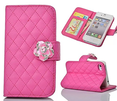 iphone 5 Case,iphone 5S Case, Welity Rose Color Camellia Soft Leather Grid Crystal Pu Leather Wallet Case for Apple iPhone 5/5S/5G and one gift