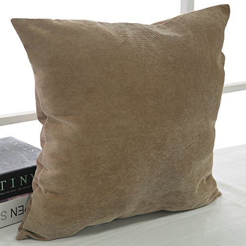 Brown Corduroy Throw Pillow : Deconovo Corduroy Flocking Throw Cushion Case Pillow Cover With Invisible Zipper For Sofa, 18x18 ...