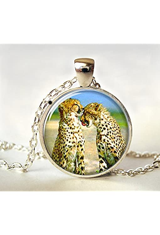 Amazon.com: Cheetah Necklace Spotted Safari Cat African Silver ...