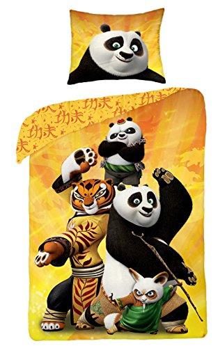 Kung Fu Panda-Parure biancheria da letto reversibile 100% cotone Copripiumino 140x 200+ federa 70x 90