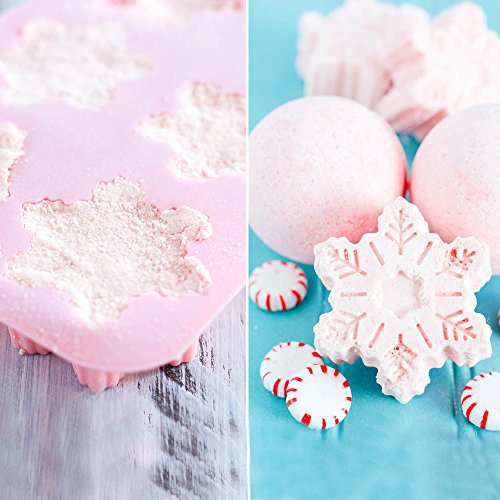tyoungg-pink-silicone-bath-bomb-mold-fizzies-christmas-snowflake-mold-6-cavity