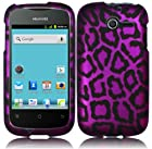 Purple Leopard Hard Case Cover Faceplate Protector for Huawei Ascend Y H866 / M866 / H866C Straight Talk with Free Gift Reliable Accessory Pen