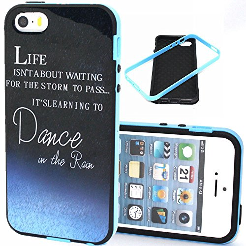 For Apple iPhone 5 5s Case, Fugou® For Apple iPhone 5 5s Hybrid Hard Bumper Frame Case Soft Back Cover Protector - Dancing in the Rain