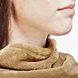 Snuggie Fleece Blanket with Sleeves Adult Throw for Women and Men Beige Latte Colour