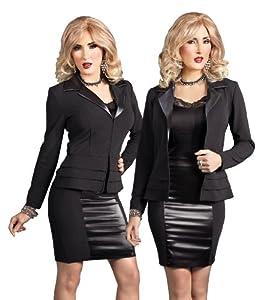Crossdressing Slimming Feminine Look of Leather Trim Suit for Transgender