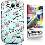 CaseiLike ® Light Blue, Pfirsichblüte 2220, Snap-on Back Cover Gehäuse für Samsung Galaxy S3 S 3 S III SIII i9300 mit Displayschutzfolie