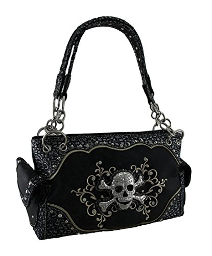 Rhinestone Skull Foiled Fabric Embroidered Concealed Carry Purse (Skull Purse)