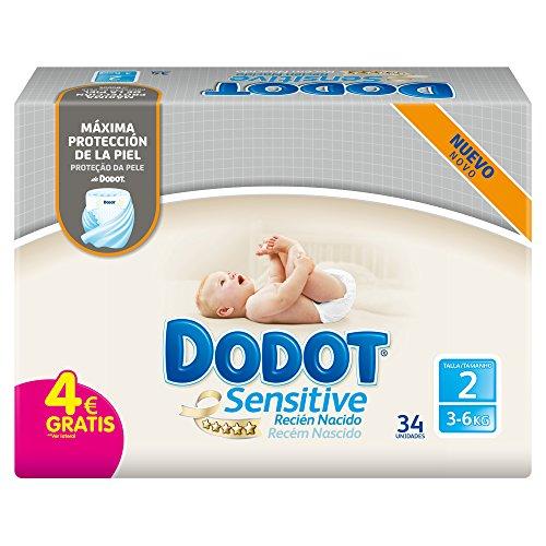 Dodot Sensitive Pannolini, misura 2, per bambini da 3-6 kg, 34 pannolini