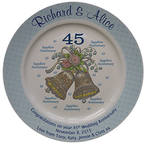 Personalized Bone China Commemorative Plate For A 45th Wedding Anniversary - Wedding Bells Design With A Blue Rim