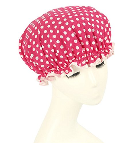 Shintop Waterproof Shower Cap Adult Resizable Double Layer Environmental Bath Hat Chiffon+EVA Rose Dot (Rose) (Shower Cap Terry Lined compare prices)