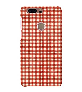 Red Checks Pattern 3D Hard Polycarbonate Designer Back Case Cover for Huawei Honor 8