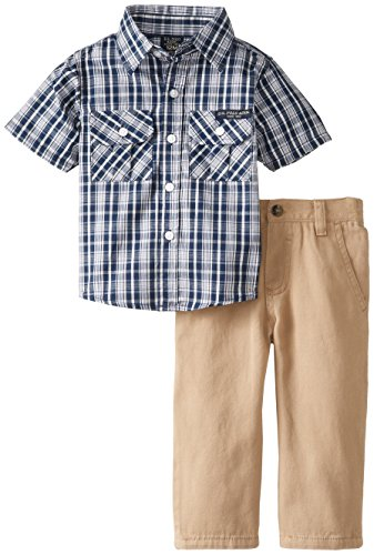 U.S. Polo Assn. Baby-Boys Infant Plaid Short Sleeve Sport Shirt And Twill Pant Set, Classic Navy, 18 Months