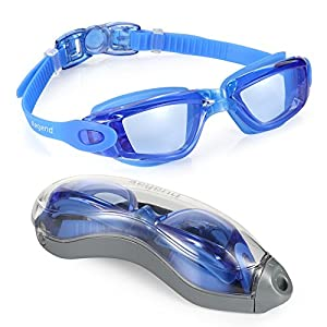 Aegend Adult Clear Anti Fog Racing Swim Goggles with UV Protection Free Protection Case for Men Women Youth Indoor Swimming Goggles No Fog for Junior Teen Kids, Blue from Aegend