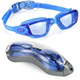 [#1 TOP RATED SWIM GOGGLES] Swimming Goggles, Aegend Adult No Leaking Clear Anti Fog UV Protection Swim Goggles with Free Protection Case for Men Women Youth Kids Indoor Open Water, Blue