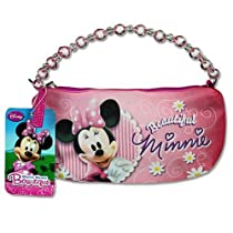 Disney Minnie Mouse Bow-tique Pink Glitter Mini Handbag w/Crystal Beaded Top Handle