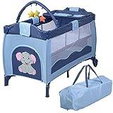 Reisebett Babybett Klappbett Babyreisebett Kinderbett Multi-Funktion Kinderreisebett Baby Laufstall Inkl. Matratze+Zubeh�r (Blau)
