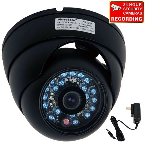 VideoSecu Day Night Vision Outdoor CCD CCTV Security Dome Camera Vandal-proof 3.6mm Wide View Angel Lens 420TVL with Free Power Supply 1Z0