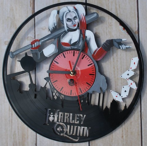 Harley Quinn DC Comics Vinyl Record Wall Clock Painted by HAND Acrylic Fun gift Vintage Unique Home decor Art Design Retro Interier