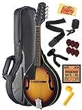 Stagg M20-LH Left Handed Bluegrass Mandolin Bundle with Gig Bag, Wall Hanger, Tuner, Strap, Strings, String Winder, Picks, and Polishing Cloth - Violinburst