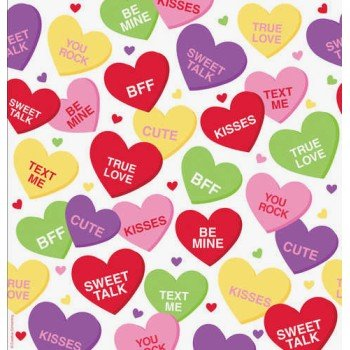 Creative Converting Valentine Candy Hearts Themed Plastic Banquet Table Cover - 1
