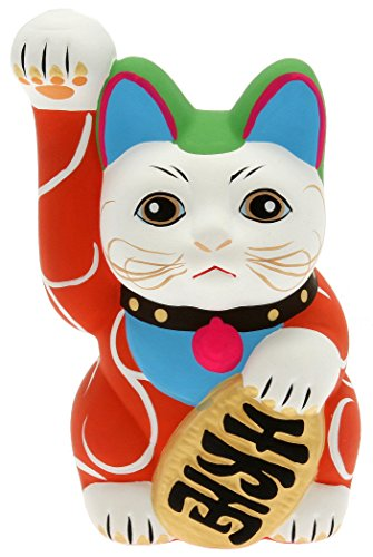 Kotobuki Maneki Neko Lucky Cat Coin Bank with Karakusa Spiral Vine Pattern, Red