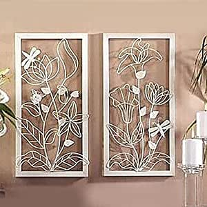 Metal wall art wall decor white flowers wall for Home decorations amazon