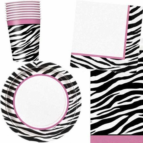Zebra Passion Party Pack. 8 paper cups, 8 paper plates (9 ins/23 cms), 16 napkins and 1 Plastic Tablecover