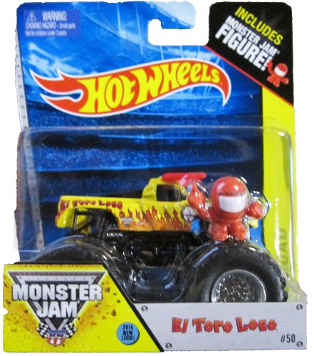 Hot Wheels Monster Jam New El Toro Loco 2014 New Look #50 Red And Yellow Includes Monster Jam Figure