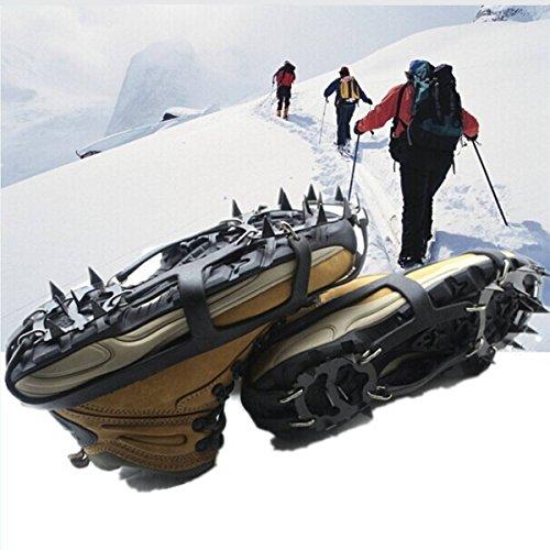 1 Paar Steigeisen Schuhe Spikes Schneekette Silikon Anti-Rutsch Spikes mit 18 Zähne,Leicht Bergschuhstiefel Bergüberschuhe für Wandern Eis Schnee L