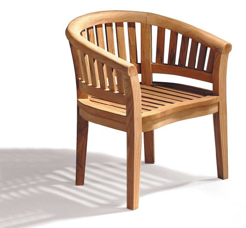 Teak Curved Banana Garden Chair, Outdoor Armchair