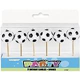 6 Mini-Kerzen * FUSSBÄLLE * auf Holzhalter für Party und Geburtstag // Kerzen Kuchen Torte Deko Candle Soccer Fussballspieler Fussball EM WM 2014