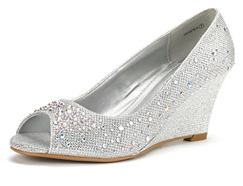 DREAM PAIRS CELESTE-S Women's Elegant Classic Open Toe Mid Heel Wedge Heel Rhinestones Pumps Shoes New SILVER SIZE 10