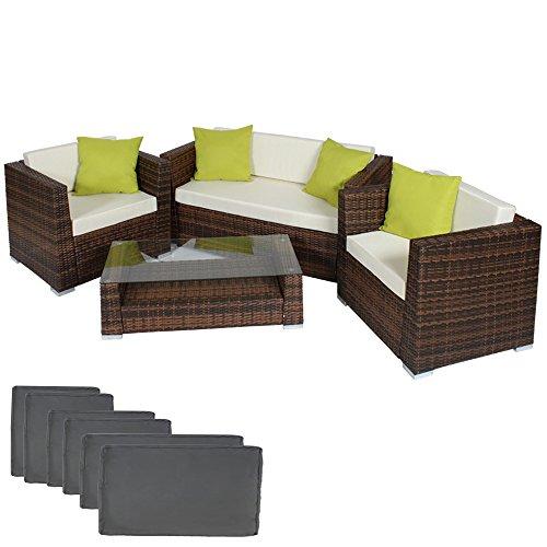 TecTake-Hochwertige-Alu-Luxus-Lounge-Set-Poly-Rattan-Sitzgruppe-braun-schwarz-mit-2-Bezugsets-und-4-extra-Kissen-mit-Edelstahlschrauben