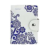FakeFace® Retro Qualitäts-Echtleder Kartenetui Kartenbörse mit 20 Klarsichtfächer für Damen