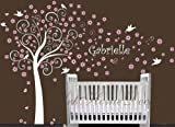 Baby Nursery Blossom Flower Tree Flowers Trees Custom Name Bird Birds Personalized Baby Room House Wall Sticker Art Murals Stickers Decal Decor Removeable Kid Kids