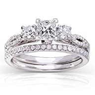 Princess-cut Diamond Bridal Ring Set…