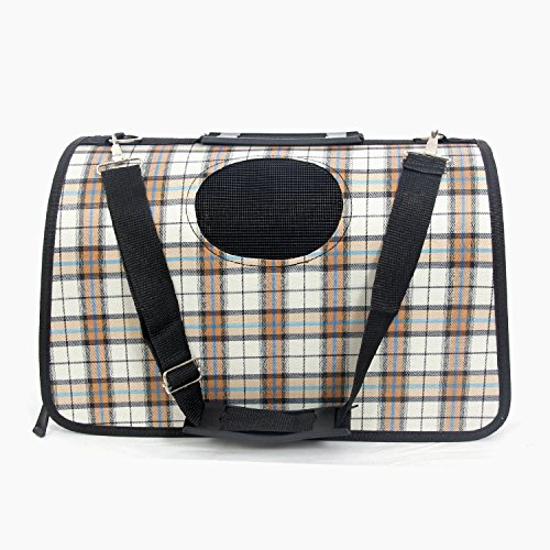 EchoAcc Plaid Pet Outdoor Carrier Cat Dog Comfort Travel Bag Durable and Breathable Full Zipper Cute Case (Beige)