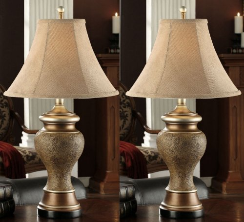 Set of 2 Traditional Antique Brown and Gold & Fabric Shade Table Lamps