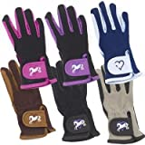 Ovation Kids Hearts & Horses Riding Gloves - Size:A (8-10) Color:Pink/Black