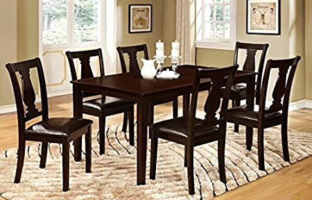 7 pc Bridle I transitional style espresso finish wood dining table set with padded leatherette seats