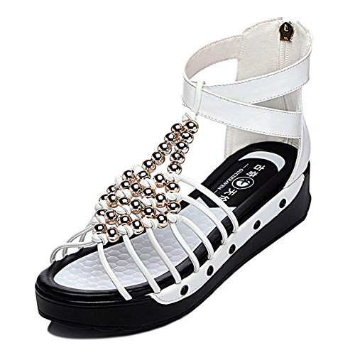 Allure.Love Women Fashion Flat High Heel High Platform Sandal shoes(5.5 B(M)US,White)