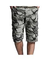 Calvinmetoo-Airborne Pantalon Camouflage Combat Treillis Homme Casual 3/4 Short Camouflage Camo militaire de l'armée Cargo Pants Pantalon de combat(sans ceinture)