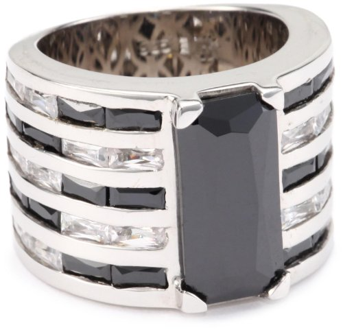 Giorgio Martello Sterling Silver Rhodium Plated Black and White Cubic Zirconium Ring