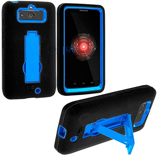 Mylife (Tm) Black + Blue Commuter Series (Built In Kickstand) Survival Case For Motorola Droid Mini Xt1030 Smartphone (Shockproof External Silicon Gel + 2 Piece Internal Rubberized Hard Case + Gripable Texture)