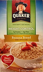 Quaker Instant Oatmeal Weight Control, Banana Bread, 8-Packet Boxes (Pack of 4)