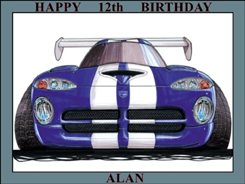 226-chrysler-dodge-viper-blue-white-strip-koolart-0226-personalised-10-x-75-icing-cake-topper-any-na