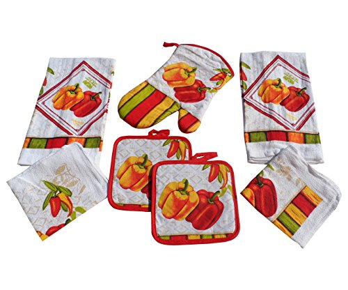 Bell Peppers Kitchen Towel Set 7 Piece Towels Pot Holders Oven Mitt & Dishcloth Decorative Design Everyday Use