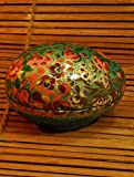 The India Craft House Green floral egg shaped box (H-3