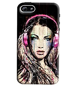Blue Throat Girl With Headphones Printed Designer Back Cover/Case For Apple iPhone 5